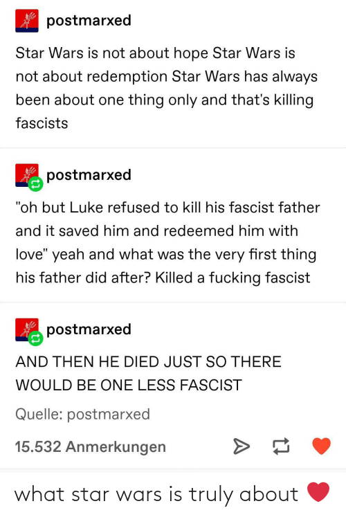 "fascist: postmarxed  Star Wars is not about hope Star Wars is  not about redemption Star Wars has always  been about one thing only and that's killing  fascists  postmarxed  ""oh but Luke refused to kill his fascist father  and it saved him and redeemed him with  love"" yeah and what was the very first thing  his father did after? Killed a fucking fascist  postmarxed  AND THEN HE DIED JUST SO THERE  WOULD BE ONE LESS FASCIST  Quelle: postmarxed  15.532 Anmerkungen what star wars is truly about ❤️"