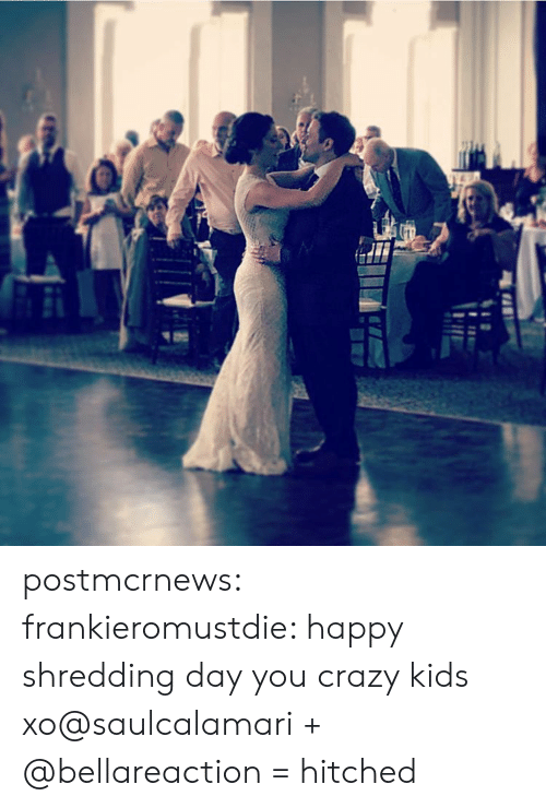 Crazy, Instagram, and Tumblr: postmcrnews:  frankieromustdie: happy shredding day you crazy kids xo@saulcalamari + @bellareaction = hitched