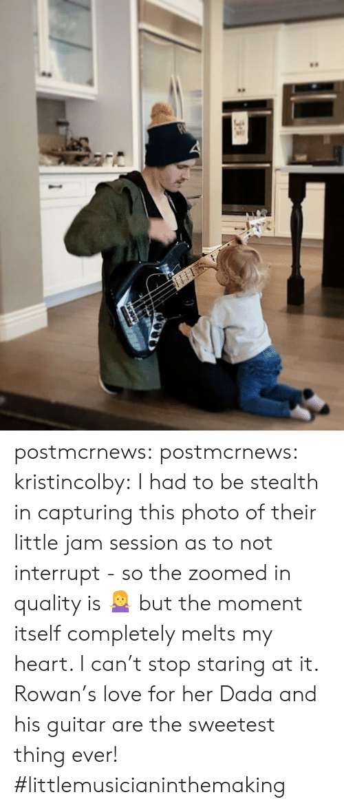 stealth: postmcrnews:  postmcrnews:  kristincolby:I had to be stealth in capturing this photo of their little jam session as to not interrupt - so the zoomed in quality is 🤷♀️ but the moment itself completely melts my heart. I can't stop staring at it. Rowan's love for her Dada and his guitar are the sweetest thing ever! #littlemusicianinthemaking