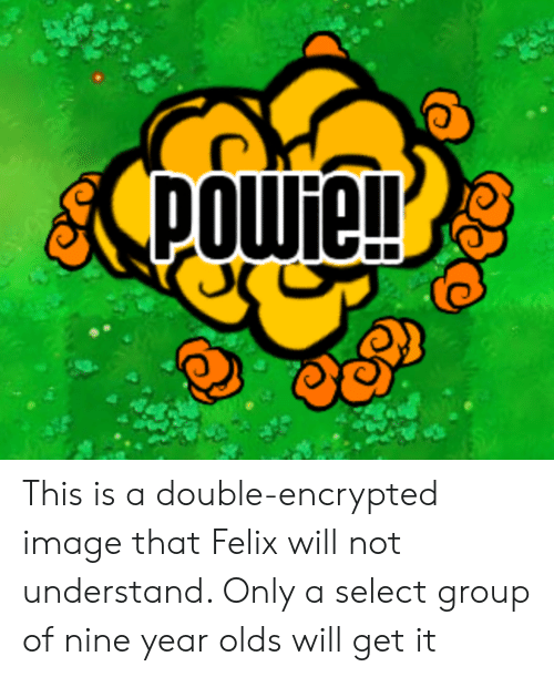 Image, Group, and Will: powie! This is a double-encrypted image that Felix will not understand. Only a select group of nine year olds will get it