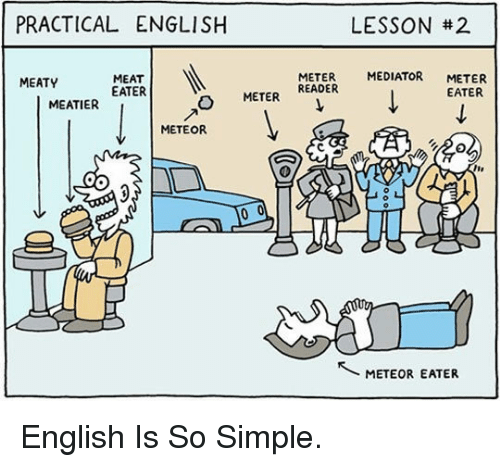 Meat Eater: PRACTICAL ENGLISH  LESSON #2  MEATY  MEAT  EATER  MEDIATOR METER  EATER  METER  MEATIER  METER READER  METEOR  METEOR EATER <p>English Is So Simple.</p>