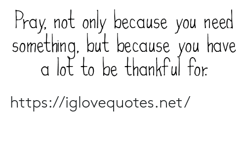 pray: Pray, not only because you need  something aut because you  have  lot to be thankful for https://iglovequotes.net/