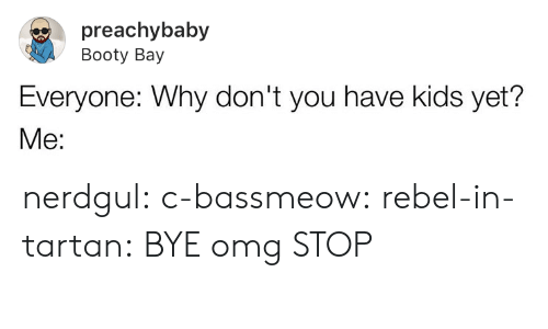 Booty, Omg, and Tumblr: preachybaby  Booty Bay  Everyone: Why don't you have kids yet? nerdgul: c-bassmeow:   rebel-in-tartan: BYE omg   STOP