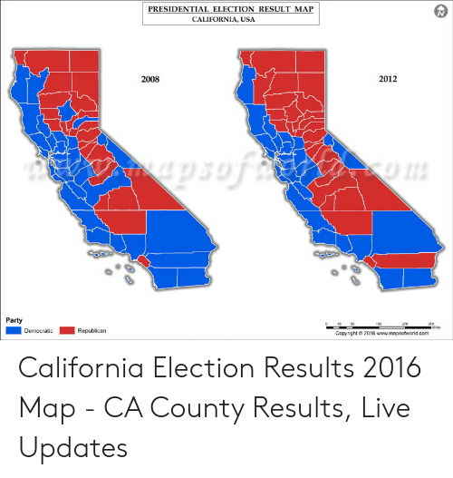 PRESIDENTIAL ELECTION RESULT MAP CALIFORNIA USA 2012 2008 ...