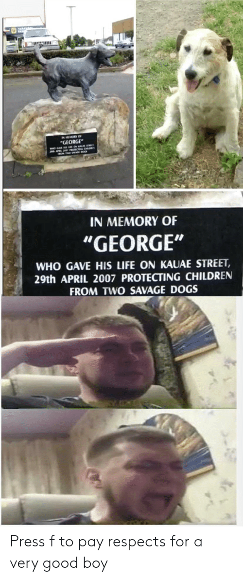 Pay: Press f to pay respects for a very good boy