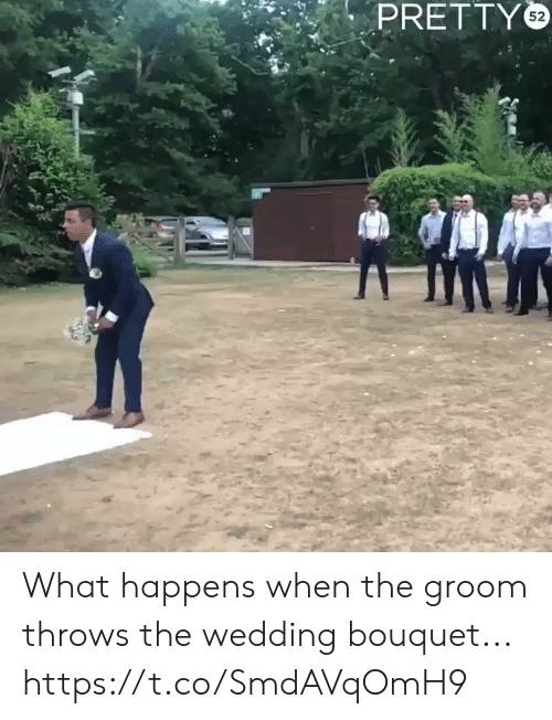 Funny, Wedding, and What: PRETTY What happens when the groom throws the wedding bouquet... https://t.co/SmdAVqOmH9
