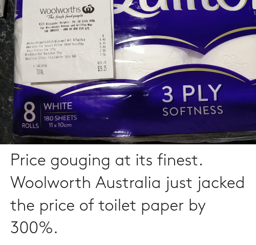 Price Gouging: Price gouging at its finest. Woolworth Australia just jacked the price of toilet paper by 300%.