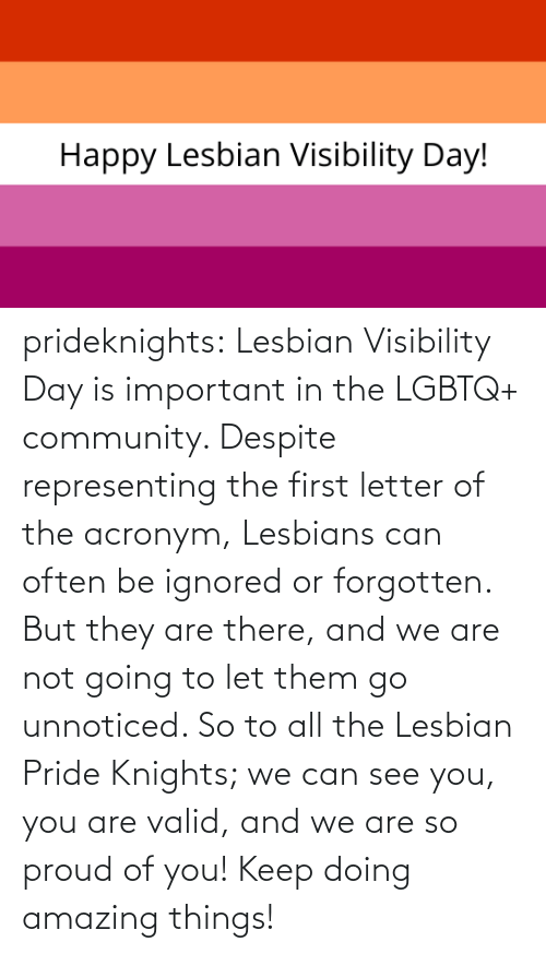 pride: prideknights:  Lesbian Visibility Day is important in the LGBTQ+ community. Despite representing the first letter of the acronym, Lesbians can often be ignored or forgotten. But they are there, and we are not going to let them go unnoticed. So to all the Lesbian Pride Knights; we can see you, you are valid, and we are so proud of you! Keep doing amazing things!
