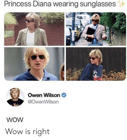 diana: Princess Diana wearing sunglasses  EXIT  Owen Wilson  @OwenWilson  WOW Wow is right