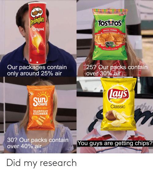 Guys Are: Pringles  Tosttos  Original  SALSA VERDE  PREPÁRALOS A TU GUSTO  Our packages contain  only around 25% air  [25? Our packs contain  tover 30% air  Lay's  Sun  SCHIPS  Classic  -100% WHOLE GRAIN  HARVEST  CHEDDAR  Potato Chips  30? Our packs contain  over 40% air  You guys are getting chips? Did my research