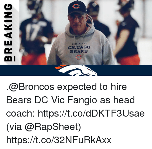 Chicago Bears: PRIPERTY OF  CHICAGO  BEARS  OI .@Broncos expected to hire Bears DC Vic Fangio as head coach: https://t.co/dDKTF3Usae (via @RapSheet) https://t.co/32NFuRkAxx