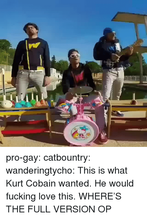 Kurt Cobain: pro-gay:  catbountry:  wanderingtycho: This is what Kurt Cobain wanted.  He would fucking love this.  WHERE'S THE FULL VERSION OP