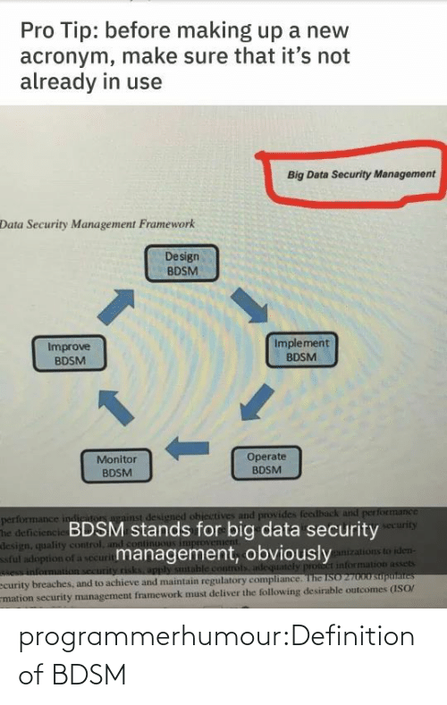 Pro Tip: Pro Tip: before making up a new  acronym, make sure that it's not  already in use  Big Data Security Management  Data Security Management Framework  Design  BDSM  Implement  Improve  BDSM  BDSM  1.  Operate  BDSM  Monitor  BDSM  performance indiriton against designed ohiectives and provides feedback and performance  The deficiencie BDSM stands for big data security  design, quality control, and cont  ful adoption of a securitmanagement, obviously  e information security risks, apply sutable controls adequately pront information assets  ecurity breaches, and to achieve and maintain regulatory compliance. The ISO 27000 suputaites  mation security management framework must deliver the following desirable outcomes (ISO/  security  ganizations to iden- programmerhumour:Definition of BDSM