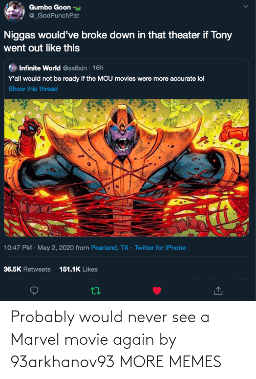 Marvel: Probably would never see a Marvel movie again by 93arkhanov93 MORE MEMES