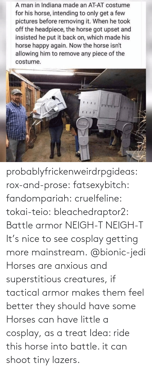 armor: probablyfrickenweirdrpgideas: rox-and-prose:  fatsexybitch:   fandompariah:  cruelfeline:  tokai-teio:  bleachedraptor2: Battle armor    NEIGH-T  NEIGH-T    It's nice to see cosplay getting more mainstream.    @bionic-jedi     Horses are anxious and superstitious creatures, if tactical armor makes them feel better they should have some    Horses can have little a cosplay, as a treat    Idea: ride this horse into battle. it can shoot tiny lazers.