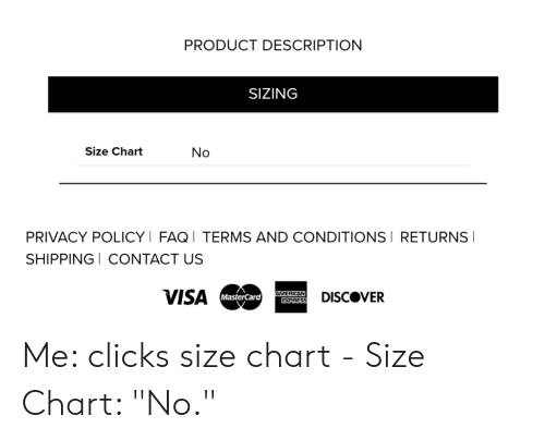 Product Description Sizing Size Chart No Privacy Policyi Faqi Terms