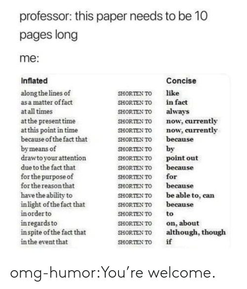 Omg, Tumblr, and Blog: professor: this paper needs to be 10  pages long  me:  Inflated  Concise  along the lines of  as a matter offact  at all times  at the present time  at this point in time  because of the fact that  by means of  drawto your attention  due to the fact that  for the purpose of  for the reason that  have the ability to  inlight of the fact that  in order to  inregards to  in spite of the fact that  in the event that  SHORTENTO like  SHORTEN TO İn fact  SHORTEN TO always  SHORTEN To now, currently  SHORTEN TO now, currently  SHORTEN TO because  SHORTEN To by  SHORTEN To point out  SHORTEN TO because  SHORTEN TO for  SHORTEN TO because  SHORTEN TO be able to, can  SHORTEN TO because  SHORTENTOto  SHORTEN TO on, about  SHORTEN To although, though  SHORTENTO if omg-humor:You're welcome.