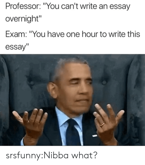 "Tumblr, Blog, and Net: Professor: ""You can't write an essay  overnight""  Exam: ""You have one hour to write this  essay"" srsfunny:Nibba what?"