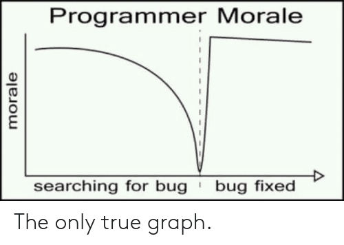 morale: Programmer Morale  bug fixed  searching for bug  morale The only true graph.