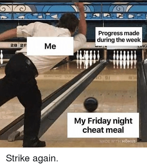 Friday, Gym, and Strike: Progress made  during the week  28 29  LING  My Friday night  cheat meal  MADE WITH MO US Strike again.