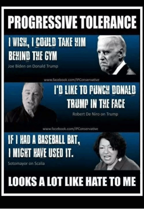 Joe Biden: PROGRESSIVE TOLERANCE  IWISH, I COULD TAKE HIM  BEHIND THE GYM  Joe Biden on Donald Trump  www.facebook.com/IPConservative  'D LIKE TO PUNCH DONALD  TRUMP IN THE FACE  Robert De Niro on Trump  www.facebook.com/IPConservative  IF I HAD A BASEBALL BAT,  MIGHT HAVE USED IT  Sotomayor on Scalia  LOOKS A LOT LIKE HATE TO ME