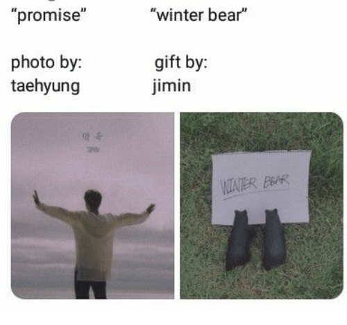 """Winter, Bear, and Bar: """"promise""""  """"winter bear""""  photo by:  taehyung  gift by:  imin  VITATER BAR"""