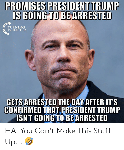 President Trump: PROMISES PRESIDENT TRUMP  IS GOING TO BE  ARRESTED  TURNING  GETS ARRESTED THE DAY AFTER ITS  CONFIRMED THAT PRESIDENT TRUMP  ISN'T GOINGTOBEARRESTED HA! You Can't Make This Stuff Up... 🤣