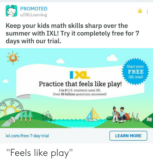 PROMOTED uIXLLearning Keep Your Kids Math Skills Sharp Over