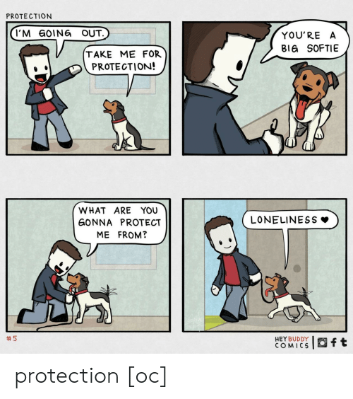 Going Out: PROTECTION  I'M GOING OUT.  YOU'RE A  BIG SOFTIE  TAKE ME FOR  PROTECTION!  WHAT ARE YOU  LONELINESS  GONNA PROTECT  ME FROM?  5  HEY BUDDY  COMICS  ft protection [oc]