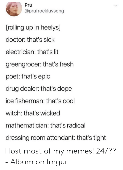 My Memes: Pru  @prufrockluvsong  [rolling up in heelys]  doctor: that's sick  electrician: that's lit  greengrocer: that's fresh  poet: that's epic  drug dealer: that's dope  ice fisherman: that's cool  witch: that's wicked  mathematician: that's radical  dressing room attendant: that's tight I lost most of my memes! 24/?? - Album on Imgur