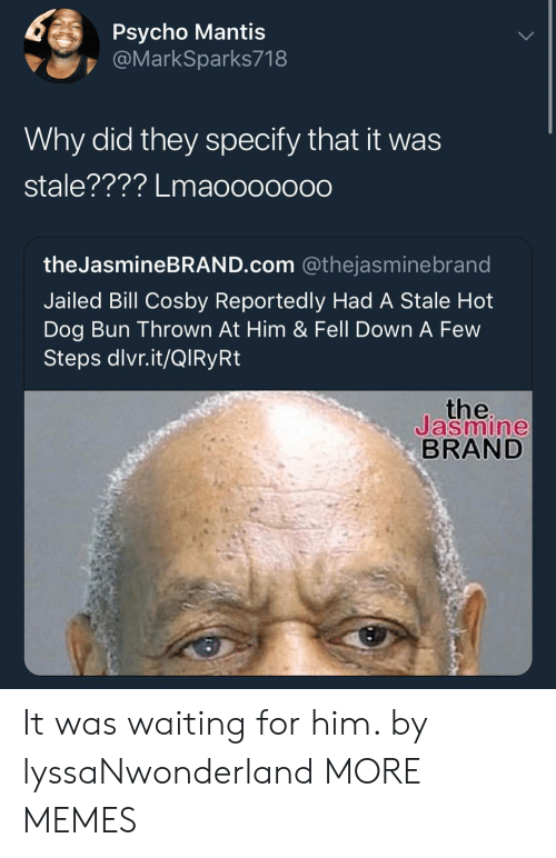jasmine: Psycho Mantis  @MarkSparks718  Why did they specify that it was  stale???? Lmaoooooo0  theJasmineBRAND.com @thejasminebrand  Jailed Bill Cosby Reportedly Had A Stale Hot  Dog Bun Thrown At Him & Fell Down A Few  Steps dlvr.it/QlRyRt  the  Jasmine  BRAND It was waiting for him. by lyssaNwonderland MORE MEMES