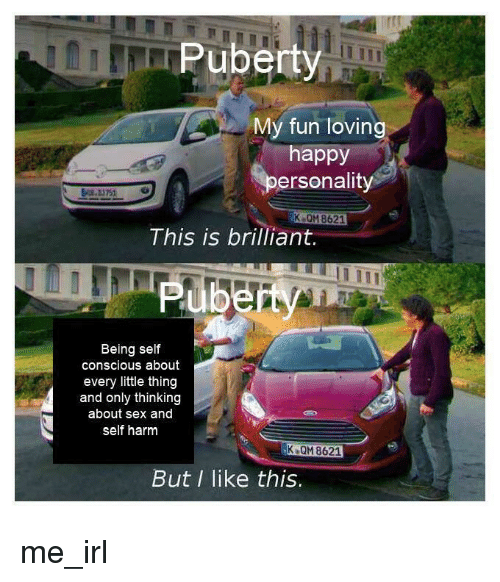 Sex, Happy, and Puberty: Puberty  My fun loving  happy  ersonality  K QM 8621  This is brilliant  Being self  conscious about  every little thing  and only thinking  about sex and  self harm  K QM 8621  But I like this. me_irl