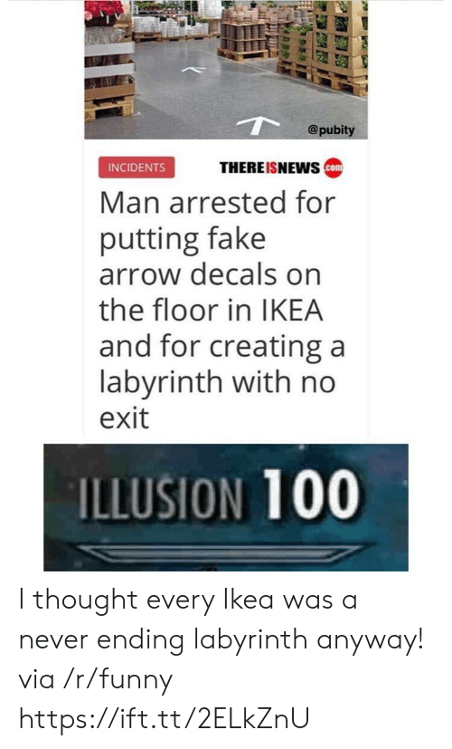 Anaconda, Fake, and Funny: @pubity  INCIDENTS  THEREISNEWS  Man arrested for  putting fake  arrow decals on  the floor in IKEA  and for creating a  labyrinth with no  exit  ILLUSION 100 I thought every Ikea was a never ending labyrinth anyway! via /r/funny https://ift.tt/2ELkZnU