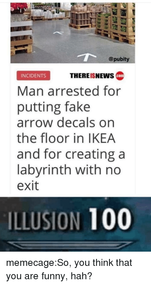 Labyrinth: @pubity  THEREISNEws ca  INCIDENTS  Man arrested for  putting fake  arrow decals on  the floor in IKEA  and for creating a  labyrinth with no  exit  ILLUSION 100 memecage:So, you think that you are funny, hah?