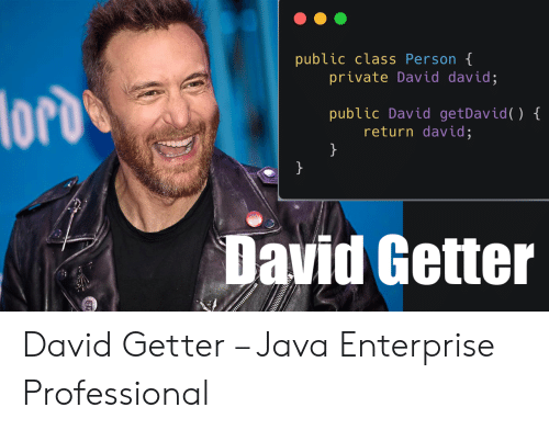 Enterprise, Java, and Private: public class Person t  private David david;  () {  public David getDavid  return david;  David Getter David Getter – Java Enterprise Professional