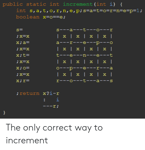 E.T., Static, and Int: public  int s,a,t,o,r,n,e, p; s=a=t=o=r=n=e=p=1;  boolean x=o==e;  static int increment (int i) {  s--a- t---o---r  | x | x | x | x |  X=X  a---r---e---p---o  X;a=  | x | x | x | x |  X; t=  t---e--n---e---t  Ix|x| х | x |  O- p -e---r---a  | x | x | x | x |  rーー-ローーーt a-ー-s  X;r=  ; return x?i-r  i  ! I- The only correct way to increment