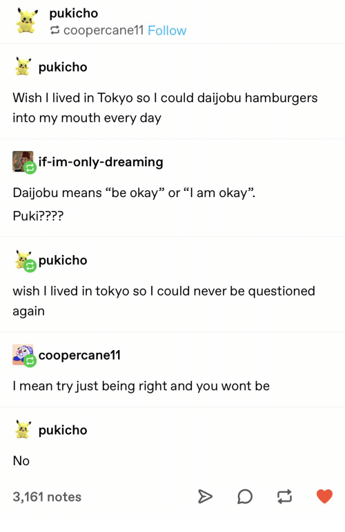"Mean, Okay, and Never: pukicho  coopercane11 Follow  pukicho  Wish I lived in Tokyo so I could daijobu hamburgers  into my mouth every day  if-im-only-dreaming  Daijobu means ""be okay"" or ""l am okay""  Puki????  pukicho  wish I lived in tokyo so I could never be questioned  again  coopercane11  I mean try just being right and you wont be  pukicho  No  3,161 notes"