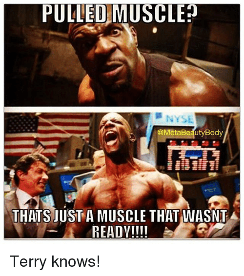 Bodies , Gym, and Nyse: PULLED MUSCLE?  NYSE  @MetaBeauty Body  THATS JUST A MUSCLE THAT WASNT A  READY!!!! Terry knows!