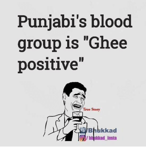 "ghee: Punjabi's blood  group is ""Ghee  positive""  True Story  Bhukkad  Gilbhukkad insta"