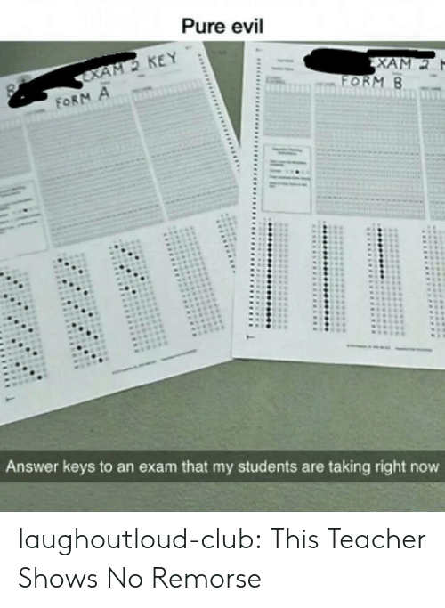 Club, Teacher, and Tumblr: Pure evil  M2 KEY  Answer keys to an exam that my students are taking right now laughoutloud-club:  This Teacher Shows No Remorse
