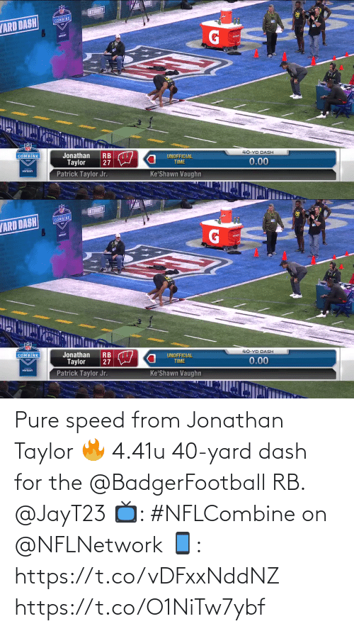 pure: Pure speed from Jonathan Taylor 🔥  4.41u 40-yard dash for the @BadgerFootball RB. @JayT23  📺: #NFLCombine on @NFLNetwork 📱: https://t.co/vDFxxNddNZ https://t.co/O1NiTw7ybf