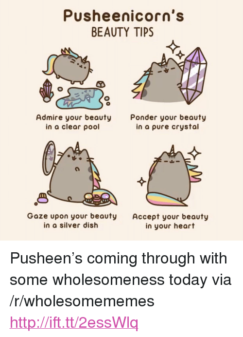 "Dish, Heart, and Http: Pusheenicorn's  BEAUTY TIPS  Admire your beauty  in a clear pool  Ponder your beauty  in a pure crystal  1 8  Goze upon your beauty Accept your beauty  in a silver dish  in your heart <p>Pusheen's coming through with some wholesomeness today via /r/wholesomememes <a href=""http://ift.tt/2essWlq"">http://ift.tt/2essWlq</a></p>"
