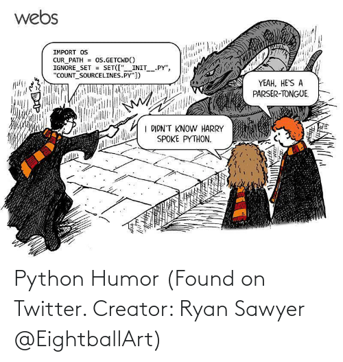 ryan: Python Humor (Found on Twitter. Creator: Ryan Sawyer @EightballArt)