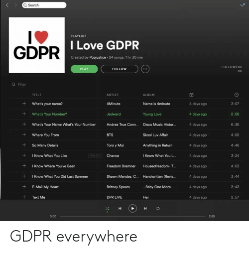 moi: Q Search  PLAYLIST  GDPR  DILove GDPR  Created by Popjustice. 24 songs, 1 hr 30 min  FOLLOWERS  86  PLAY  FOLLOW  Q Filter  TITLE  ARTIST  ALBUM  What's your name?  4Minute  Name is 4minute  4 days ago  4 days ago  4 days ago  4 days ageo  4 days ago  4 days ago  4 days ago  4 days ago  4 days ago  4 days ago  3:07  +What's Your Number?  Jedward  2:56  6:36  4:00  4:46  3:24  4:03  Young Love  What's Your Name What's Your Number Andrea True Conn.... Disco Music Histor...  +Where You From  +So Many Details  +Know What You Like  + I Know Where You've Been  +Know What You Did Last Summer  +E-Mail My Heart  +Text Me  BTS  Skool Luv Affair  Toro y Moi  Anything in Return  EXPLICIT  Chance  I Know What You L..  Freedom Bremner Houseofreedom- T...  Shawn Mendes, C.. Handwritten (Revis..  Britney Spears  DPR LIVE  3:44  ..Baby One More.  3:43  Her  2:57  0:00  2:55 GDPR everywhere