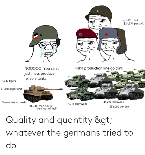 History, Whatever, and Tried: Quality and quantity > whatever the germans tried to do