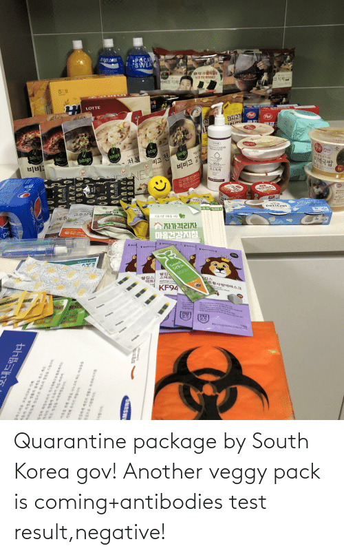 Result: Quarantine package by South Korea gov! Another veggy pack is coming+antibodies test result,negative!
