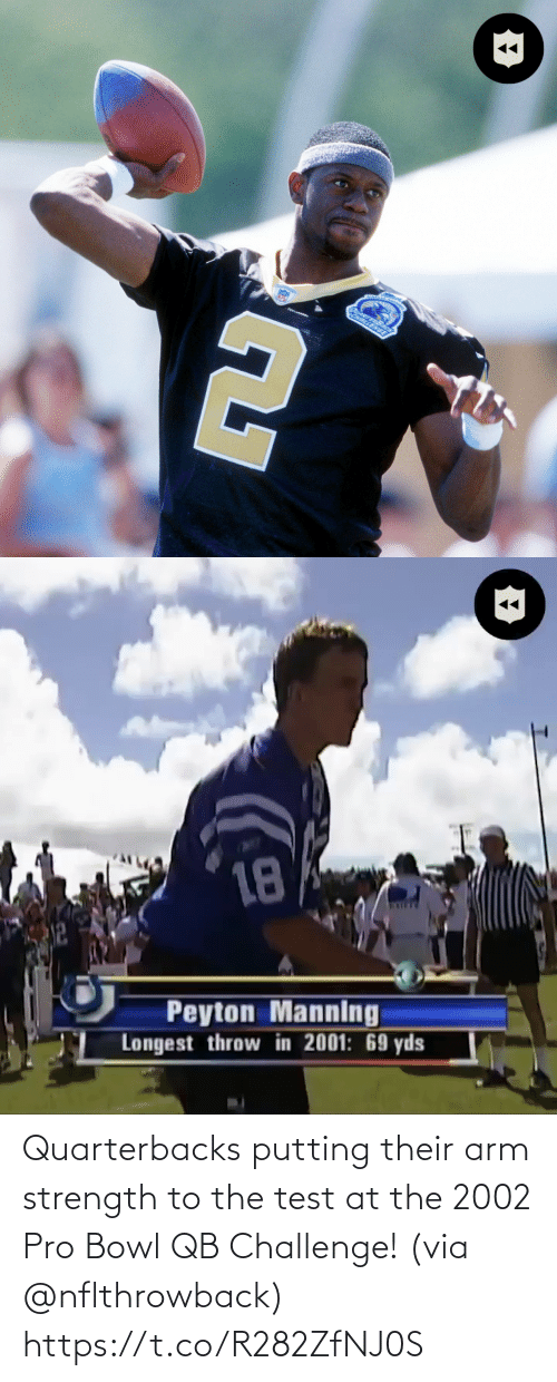Test: Quarterbacks putting their arm strength to the test at the 2002 Pro Bowl QB Challenge! (via @nflthrowback) https://t.co/R282ZfNJ0S