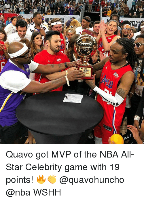 All Star, Memes, and Nba: Quavo got MVP of the NBA All-Star Celebrity game with 19 points! 🔥👏 @quavohuncho @nba WSHH