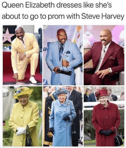 prom: Queen Elizabeth dresses like she's  about to go to prom with Steve Harvey  OLLWOOD  OFFAME  AW