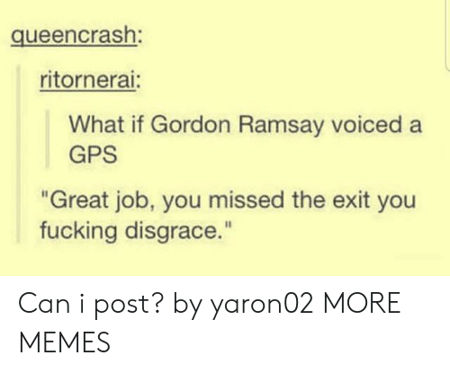 """GPS: queencrash:  ritornerai:  What if Gordon Ramsay voiced a  GPS  """"Great job, you missed the exit you  fucking disgrace."""" Can i post? by yaron02 MORE MEMES"""